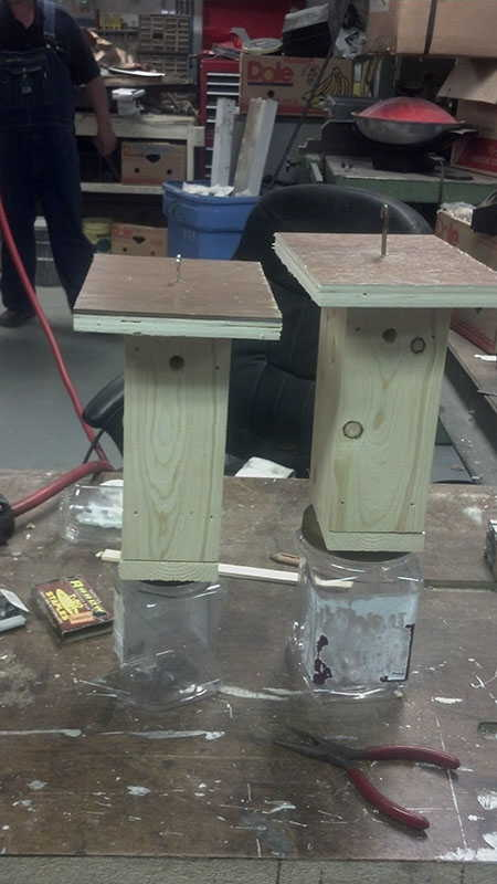 Two home made wood bee traps to kill carpenter bees and save my wood!