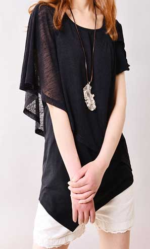 Asymetrical layering top