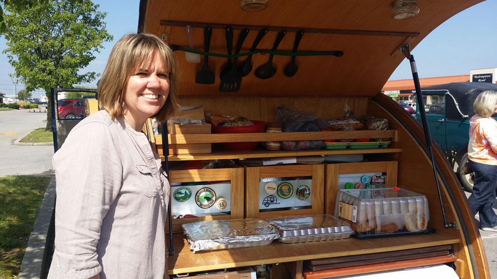 Tiny teardrop trailer travels living small voluntary for Teardrop camper kitchen ideas