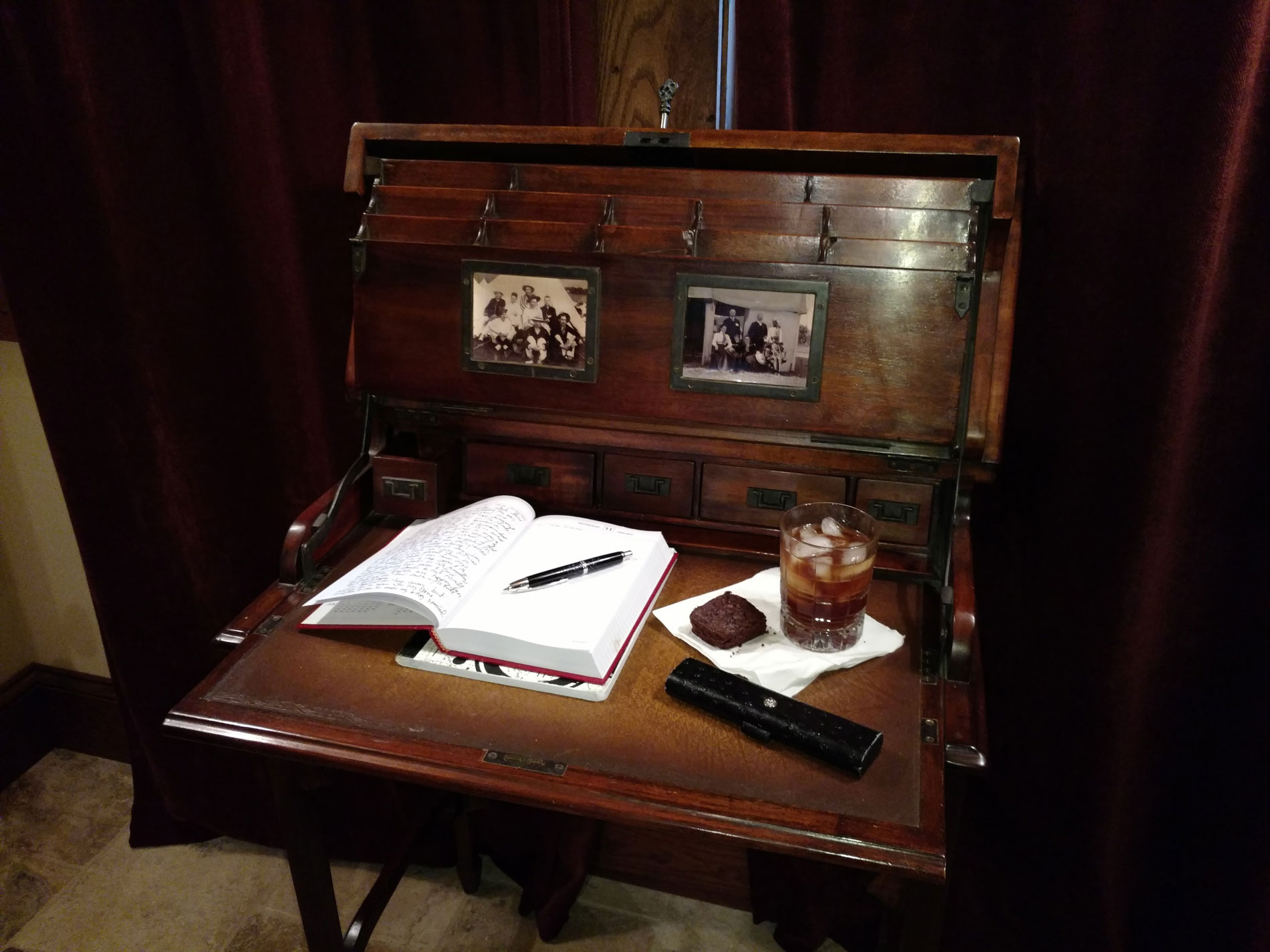 antique travel writer's desk at bed and breakfast
